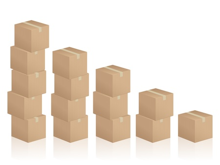 pasteboard: Diagram formed by cardboard boxes on white background.