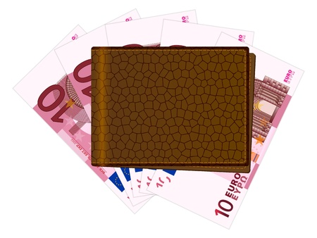 billfold: Wallet with ten euro banknotes on a white background. Vector illustration. Illustration