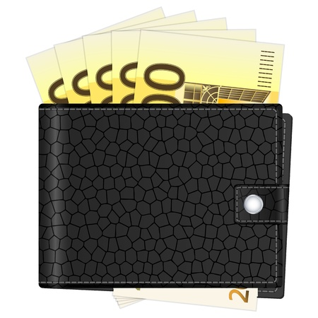 Wallet with euro banknotes on a white background. Vector illustration. Stock Vector - 18663191