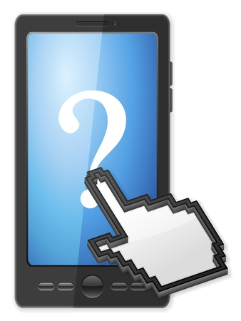 interrogative: Phone, cursor and question symbol on a white background. Illustration