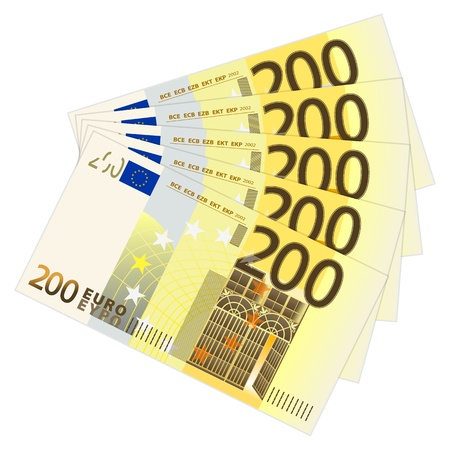 Two hundred euro banknotes Stock Vector - 19085216
