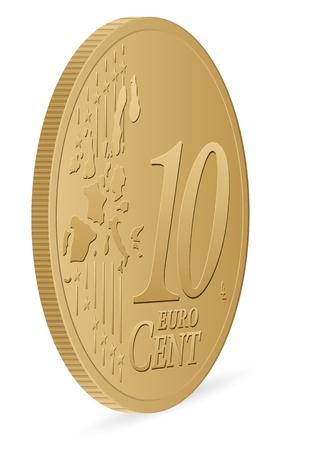 cent: ten euro cent coin  Illustration