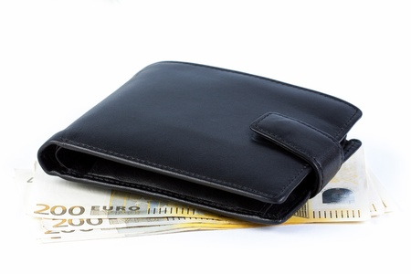 Wallet with euro banknotes on a white background Stock Photo - 19221453