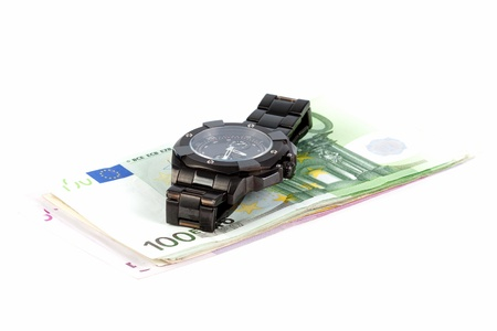 Watch on a euro banknotes Stock Photo - 19221442