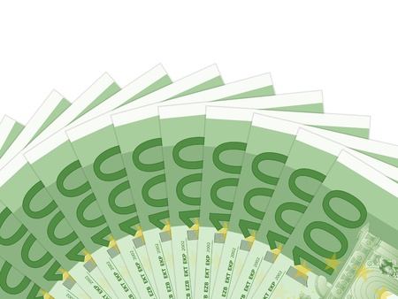 One hundred banknotes on a white background. illustration. Stock Vector - 19370379