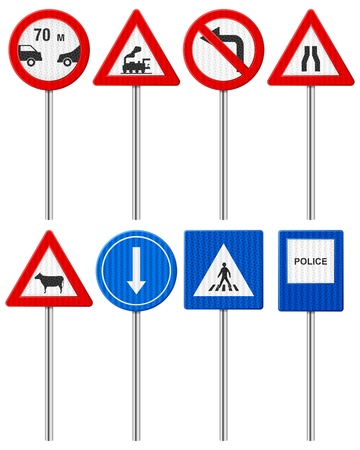 signal: Traffic road signs set on a white background  Illustration