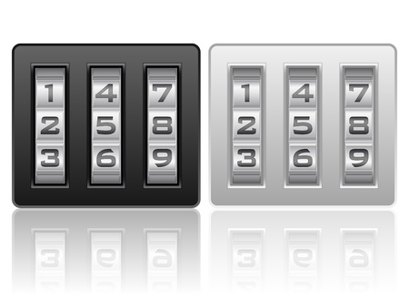 lock icon: Combination lock icons on a white background. Illustration