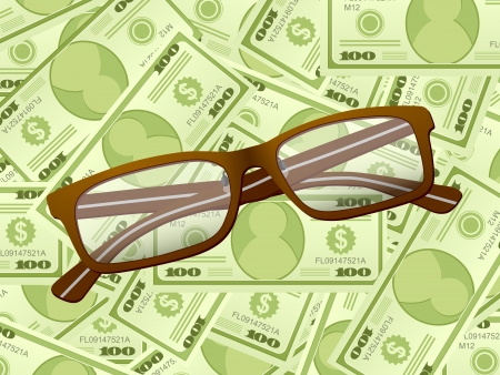 Reading glasses on a dollars background. Vector illustration. Stock Vector - 19940883