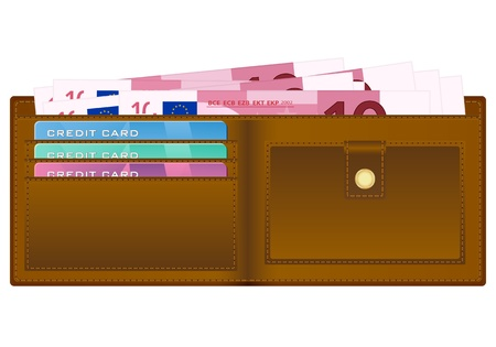 billfold: Open wallet with ten euro banknotes and credit cards. Vector illustration.