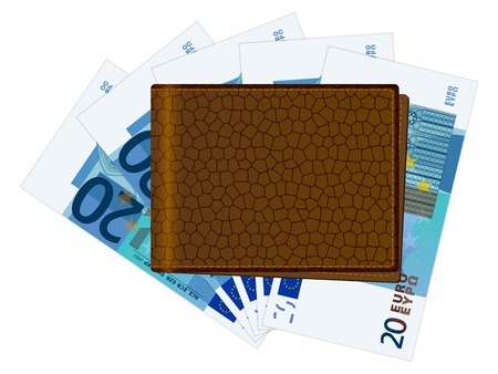 billfold: Wallet with twenty euro banknotes on a white background. Vector illustration. Illustration
