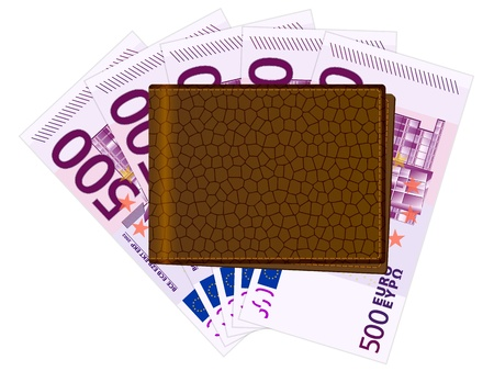 billfold: Wallet with euro banknotes. Vector illustration.