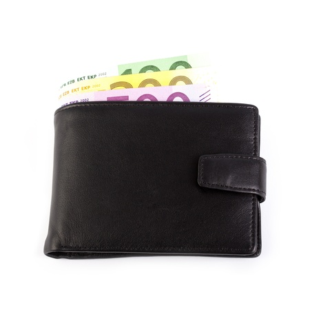 Wallet with euro banknotes on a white background. Stock Photo - 19942867