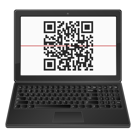 Laptop with QR barcode scanner on a white background. Stock Vector - 20302300