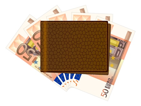 billfold: Wallet with fifty euro banknotes on a white background illustration. Illustration