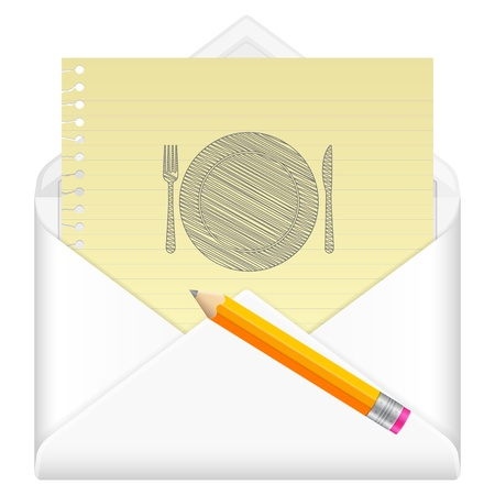 Envelope, notebook sheet, pencil and symbol on a white background. Vector
