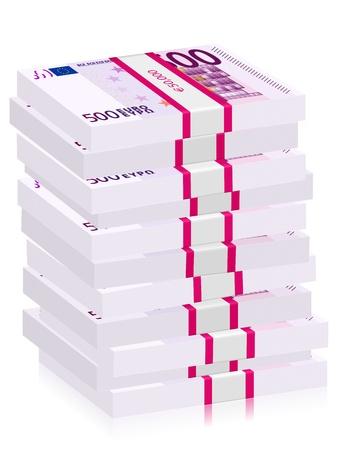 hundreds: Hundreds euro banknotes stacks on a white background.