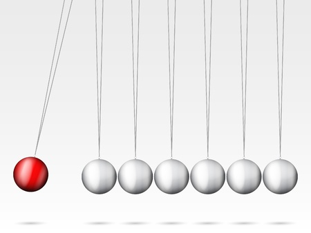 Balancing balls Newtons cradle on a white background. Illustration