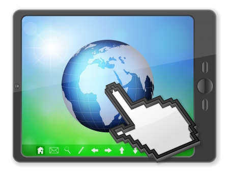 palmtop: Tablet computer with world globe on a white background. Illustration