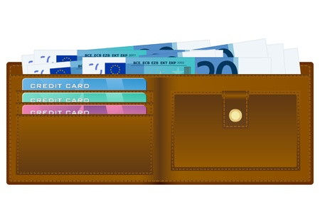 billfold: Open wallet with twenty euro banknotes and credit cards.  Illustration