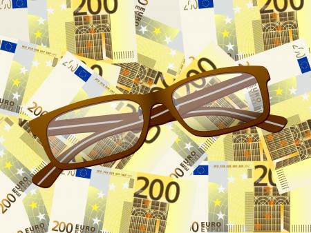 Reading glasses on two hundred euros background. Stock Vector - 20722226