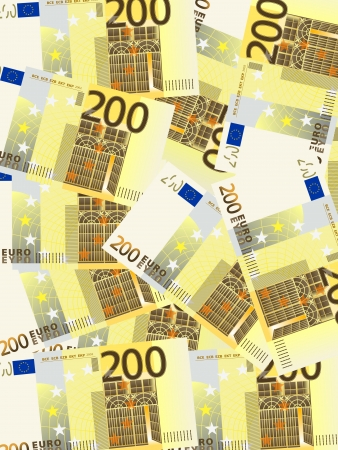 Background from a two hundred euro banknotes. Vector illustration. Stock Vector - 21418946