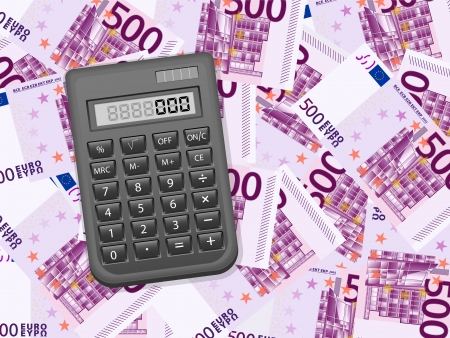 Calculator on a five hundred euros background. Vector illustration. Stock Vector - 21420700