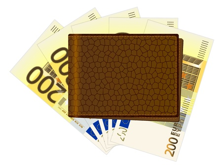Wallet with euro banknotes on a white background. Vector illustration. Stock Vector - 21450880
