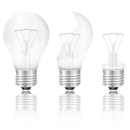 wolfram: Broken light bulb set on a white background. Vector illustration.