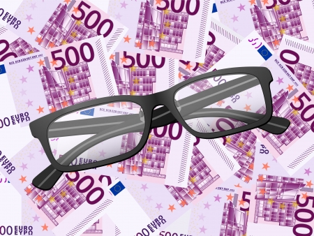 Reading glasses on five hundred euros background. Vector illustration. Stock Vector - 21450900