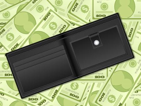 empty wallet: Wallet on a dollars background. Vector illustration. Illustration
