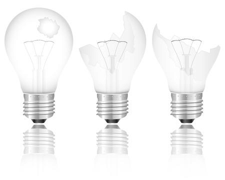 wolfram: Broken light bulb set on a white background illustration.