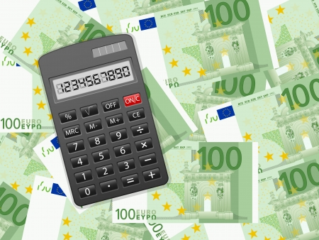 Calculator on a one hundred euros background illustration. Stock Vector - 22402039