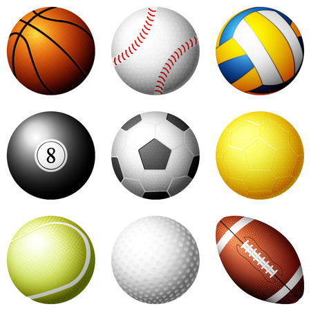 Sport balls on white background illustration.
