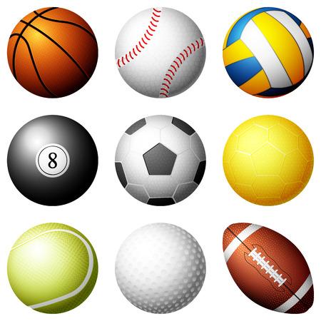 pool ball: Sport balls on white background illustration.