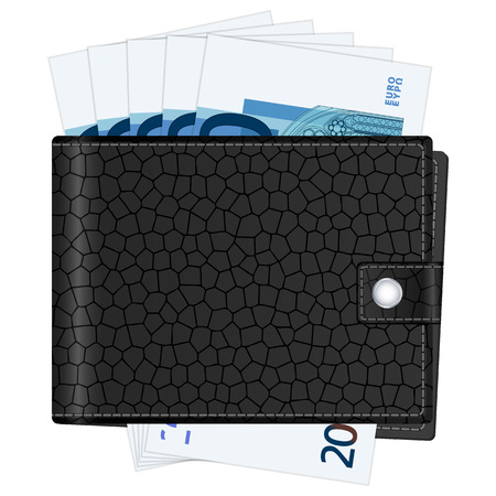 billfold: Wallet with twenty euro banknotes on a white background illustration.