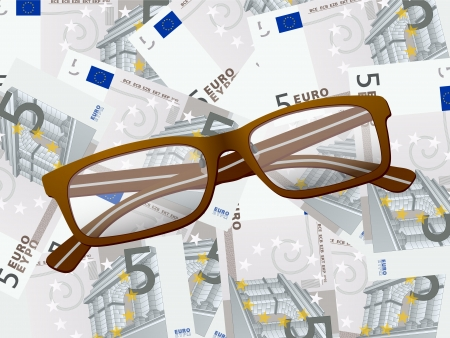 Reading glasses on five euros background. Stock Vector - 22474149