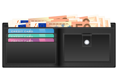 billfold: Open wallet with fifty euro banknotes and credit cards.  Illustration