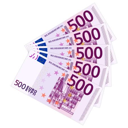 Five hundred banknotes on a white background  Vector illustration  Illustration