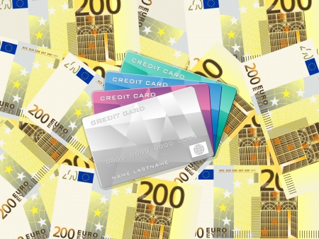 Credit cards on two hundred euro banknotes background. Vector illustration. Stock Vector - 22779741