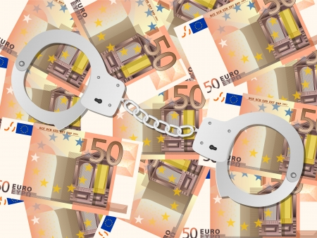 shackles: Handcuffs on fifty euros background. Vector illustration.