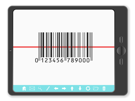 barcode scanner: PC tablet with barcode scanner on a white background.