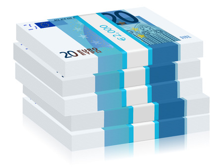 wad: Twenty euro banknotes stacks on a white background. Vector illustration. Illustration