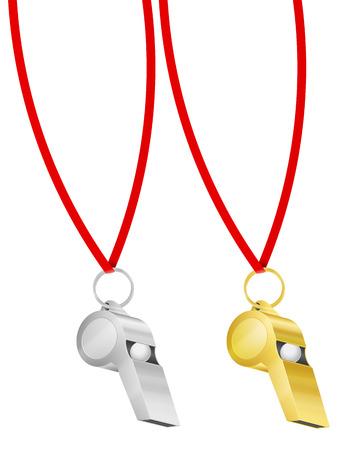 Whistle mit String auf einem weißen Hintergrund. Vektor-Illustration.