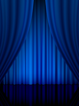 Close view of a blue curtain. Vector illustration.