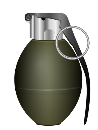 shrapnel: Green grenade on a white background. Illustration