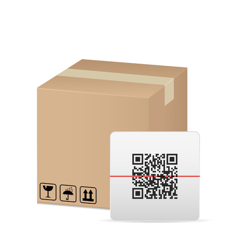 qr: box and QR code on a white background  Illustration