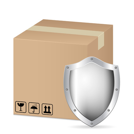 box and shield 2 on a white background  Vector