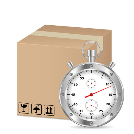 pasteboard: box and stopwatch on a white background