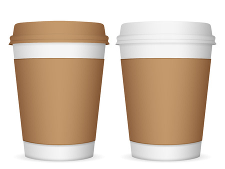 coffee cup: Paper coffee cup set on a white background.