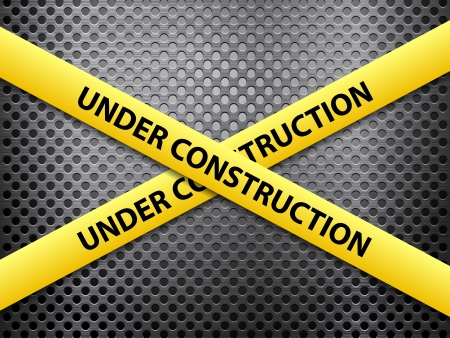 Yellow under construction tape on a metal background. Stock Vector - 24024553